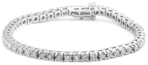 IGI Certified 14k White Gold 4-Prong Diamond Tennis Bracelet (10.00 cttw, H-I Color, I1-I2 Clarity), 8''