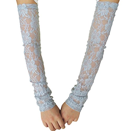 Women Stretchy Long Sleeve Fingerless Gloves (Grey-Lace)