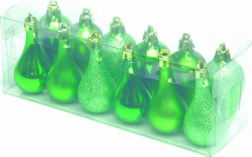 1 x Box of 12 Waterdrops & Icicles Christmas Tree Decorations - Apple Green