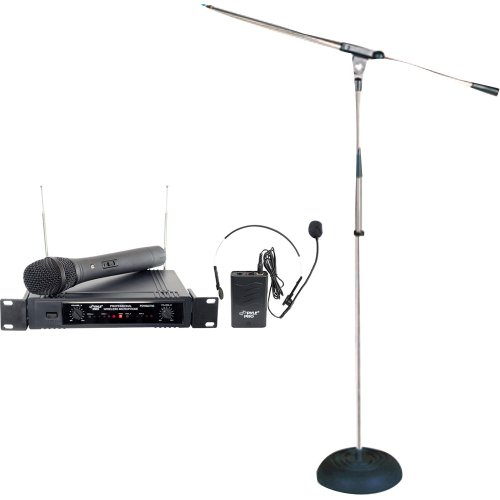 Pyle Wireless Mic And Stand Package - Pdwm2700 Two Channels Vhf Wireless Microphone - Pmks9 Heavy Duty Compact Base Boom Microphone Stand