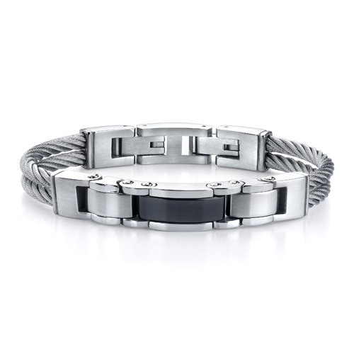 Superlative Fashion: Stainless Steel Cable-style Strap with Panther-link Centerpiece Bracelet for Men