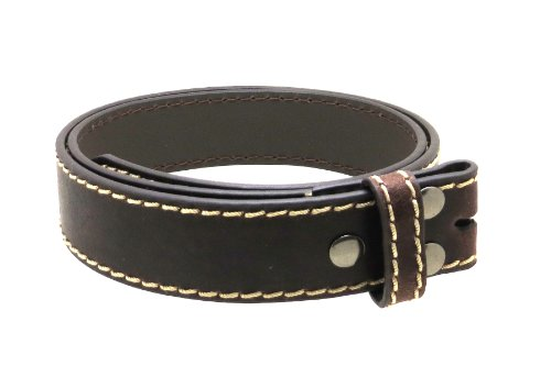 "Leather Belt Strap with Light Stitching 1.5"" Wide with Snaps Black or Brown (Brown-XL)"