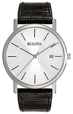 Bulova Men's Designer Watch Leather Strap - Black Steel Classic Dress Wrist Watch 96B104
