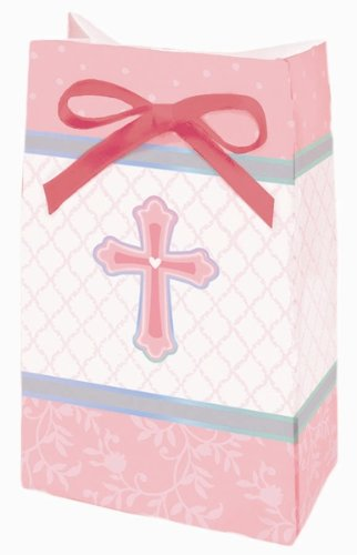 Sweet Christening Pink Favor Bags 12 Pack
