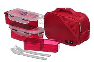 Lock & Lock Brotzeitbox Lunch Box Bento Set w/spoon&forks - HPL762DR (Rot)