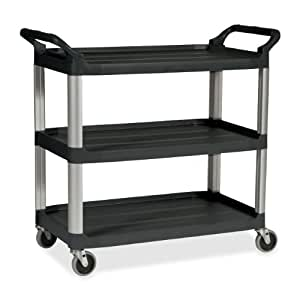 "Rubbermaid Plastic Service Cart, 3 Shelves,  200 lbs Capacity, 37-3/4"" Height, 33-5/8"" Length X 18-58"" Width"