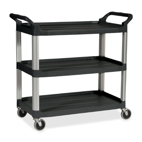 Rubbermaid Commercial Plastic Service Cart, 3 Shelves, Black, 200 lbs Capacity, 37-3/4