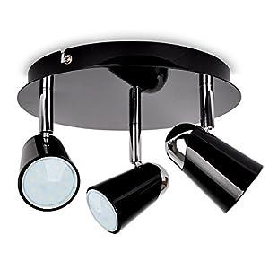 Modern Adjustable 3 Way Cone Head Round Ceiling Spotlight - With 3 x 5W Warm White SMD LED GU10 Bulbs by MiniSun