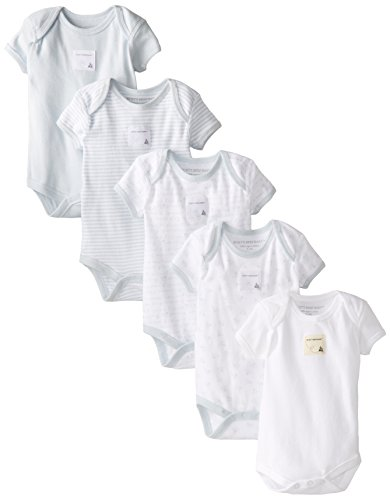 Burt's Bees Baby Baby-Boys Organic Set Of 5 Short Sleeve Bodysuits, Sky, 24 Months