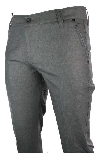 Mens Slim Fit Trousers Grey W Trim Back Pocket Italian Smart