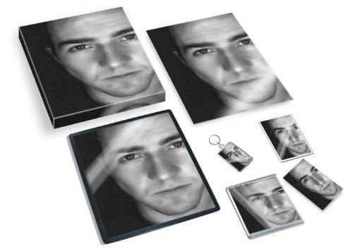 EDWARD NORTON - Original Art Gift Set #js001 (Includes - A4 Canvas - A4 Print - Coaster - Fridge Magnet - Keyring - Mouse Mat - Sketch Card) #js001