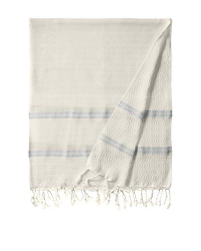 Nomadic Thread Handwoven Towel Pique, Natural/Light Blue