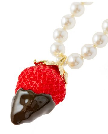 Q-pot. Strawberry Chocolate Fondue Necklace Red Fashion Jewelry New