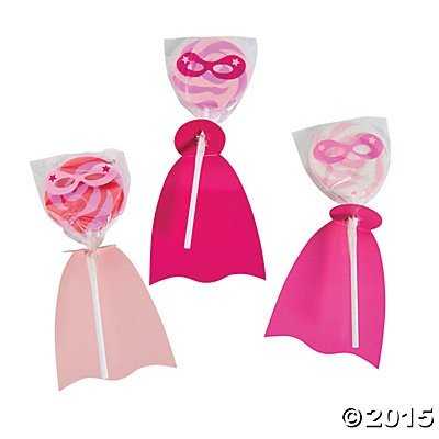Pink Superhero Suckers Lollipops - 12 ct