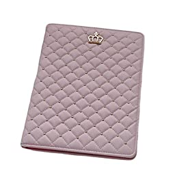 Creazy® Crown Diamond Ultra Slim Sleep Leather Hard Case Cover For iPad Pro Tablet (Pink)