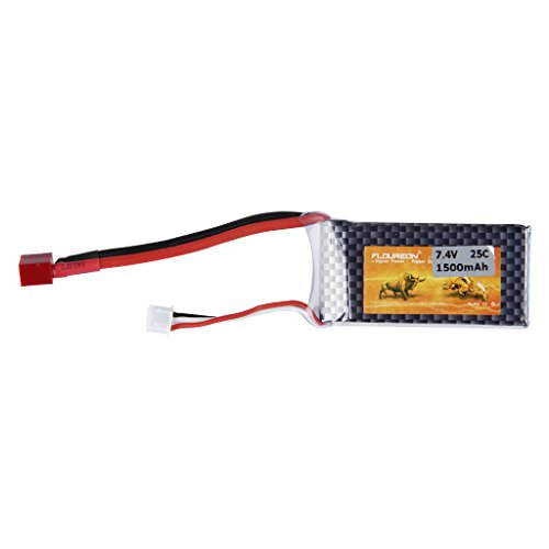 FLOUREON 7.4V 1500mAh 2S 25C Li-Polymer RC Battery Pack Deans (2.83*1.38*0.62 inch) for RC Car, RC Buggy, RC Truck, RC Truggy - 1