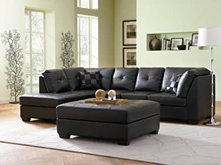 Furniture2go 3F7500606PG Melika Bonded Leather Sectional Sofa with Right-Side Chaise, Right-Side Chaise, 3-Seat Sofa, 2 Pillows