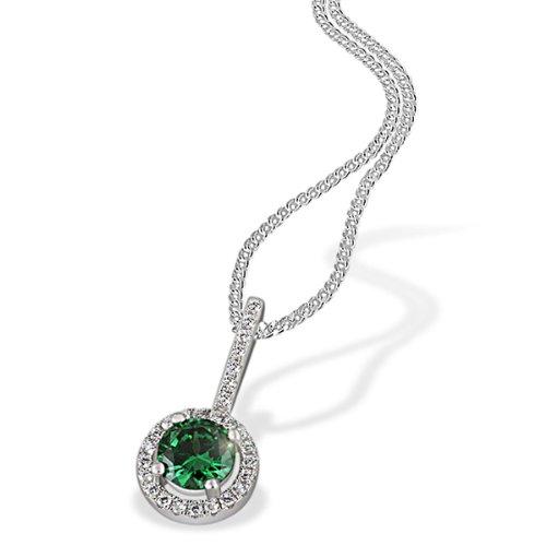 Goldmaid Damen-Collier  925 Sterlingsilber 1  Smaragdgrüner 28 weiße Zirkonia