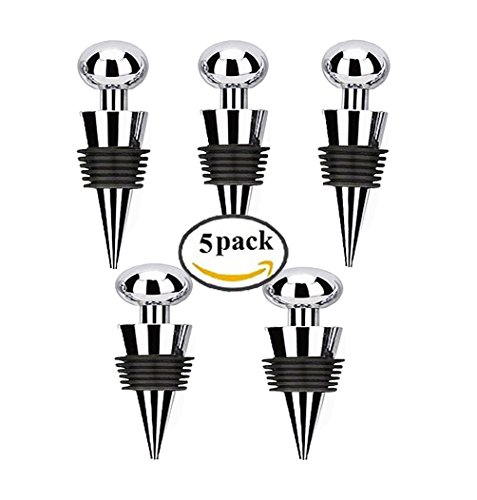 Bailyn Stainless Steel Red Wine Bottle Stopper Ball Design wine plug set of 5-Reusable wine saver cap for Wedding, Home decoration,party,bar,wine gift (Monogram Wine Stopper S compare prices)