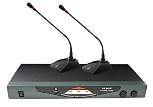 pyle pro pdwm2150 professional dual table top vhf wireless microphone system. Black Bedroom Furniture Sets. Home Design Ideas