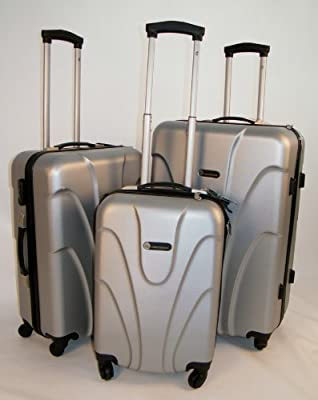 "Hard Shell 3 Piece Wheeled Suitcase Trolley Set in Silver. Set Includes: 20"", 24"", 28"" Suitcases"