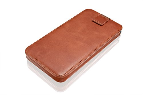 """KAVAJ leather case cover """"Miami"""" for the Apple iPhone 6 Plus 5.5 Inch cognac brown - genuine leather with business card compartment. Slim etui case as premium accessory for the original Apple iPhone 6"""