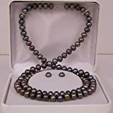 Freshwater Black Pearl Necklace, bracelet and stud earring set 6-7mm. Gold clasp SET-502YK