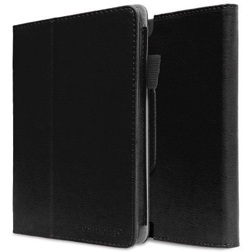 Buy  Fosmon OPUS Slim Leather Folio Cover Case with Stand, Hand-Strap, Card and Stylus Slots for Kindle Fire HDX 7 Tablet 2013 - Retail Packaging (Black)