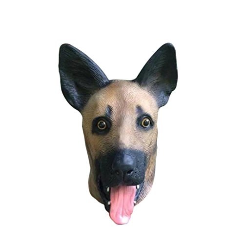 [Koolee Nature Latex Halloween Mask with Lively Cute ShePherd Dog Head] (Make Lion Costume For Dogs)