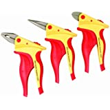 Wiha 32859 Insulated Inomic 3-Piece Set with Combination and Long Nose Pliers and Diagonal Cutters, 3 Holsters