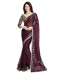Rowel Women's Maroon Brasoo Printed Saree With Blouse Piece