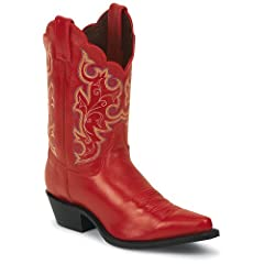 Buy Justin Ladies Classic Western Cowgirl Boot Snip Toe Red 9 M US by Justin