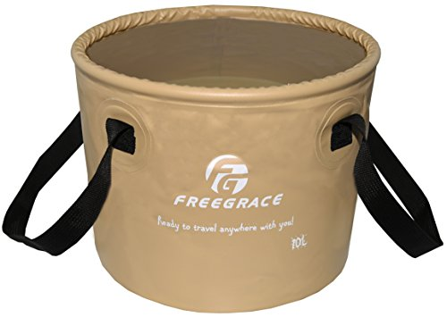 Freegrace Premium Collapsible Bucket -Multifunctional Folding Bucket -Perfect Gear For Camping, Hiking & Travel (Khaki, 10L) (Collapsible Water Bucket compare prices)
