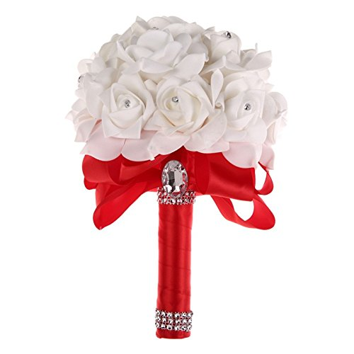 Colorful Foam Roses Artificial Flower Wedding Bride Bouquet Party (Red+White )