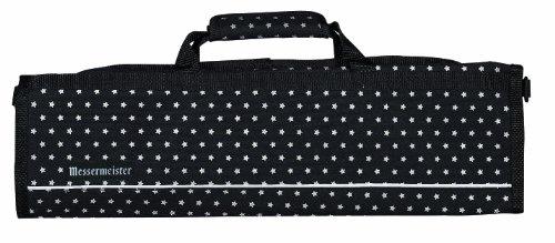 Messermeister 8-Pocket Padded Knife Roll, Black With White Stars