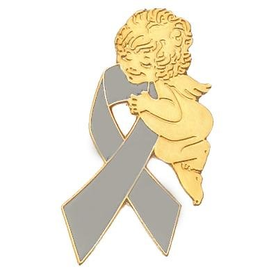 Grey Ribbon Angel Pin