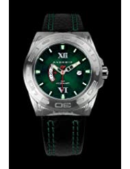 Android Antiforce GMT AD701BGR 48MM Swiss Quartz Analog Green Dial Men's Black Leather Watch