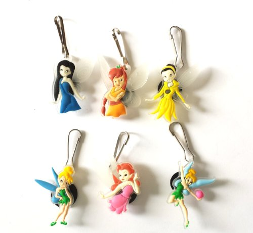 6 pcs Tinkerbell Zipper Pull / Zip pull Charms for Jacket Backpack Bag Pendant