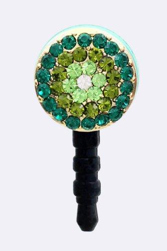 Trendy Fashion Round Crystal Button Phone Ear Cap By Fashion Destination | (Green)
