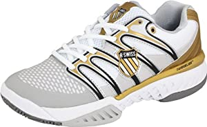 K-SWISS Big Shot Ladies Tennis Shoes, White/Black/Gold, UK5
