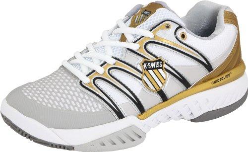 K-Swiss Women's Bigshot Tennis Shoe,White/Black/Gold,9 M