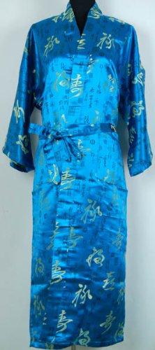 Peignoir Kimono Robe Chambre Chinoise Bleu Taille Unique