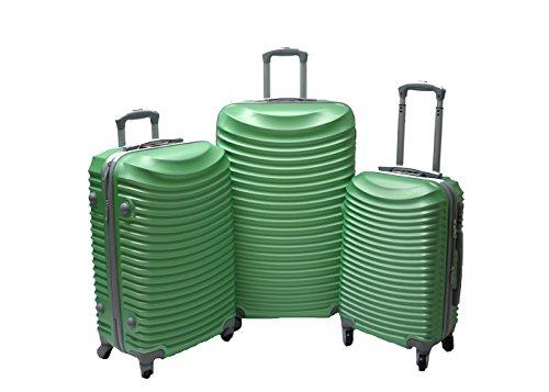 JustGlam - Set 3 Trolley set2030, valige rigide in ABS policarbonato, bagaglio piccolo da cabina, chiusura con lucchetto / verde