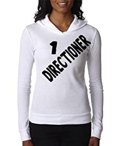 Thermal White Hoodie Top Shirt Junior Women Medium One Direction 1 Directioner Black Lettering