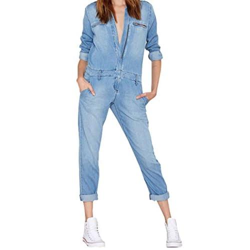 Darceil Women's Vintage Blue Long Sleeve Long Pants Denim Jumpsuit Overalls