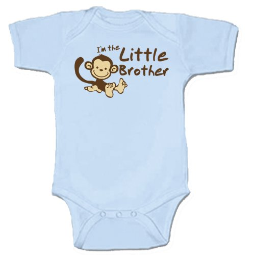 Monkey Little Brother Baby Gift (1 Blue Bodysuit - Size 0-3 Mo) front-10979