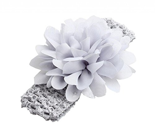 Hebew 3Pcs Kids Girl Baby Toddler Lace Flower Headband Accessories Gray