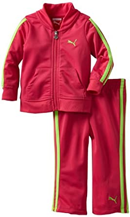 Puma - Kids Baby-girls Infant Tricot Track Jacket And Pant Set, Beet Purple, 12 Months