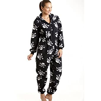 combinaison pyjama capuche en polaire motif t te de mort femme noir blanc taille 38. Black Bedroom Furniture Sets. Home Design Ideas