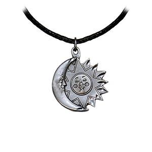 Black Leather Adjustable Pewter Sun Moon Necklace